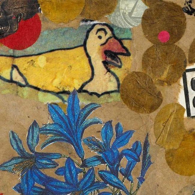 close up of a mixed-media with torn brown paper, a botanical illustration of blue flowers, and an illustrated goose