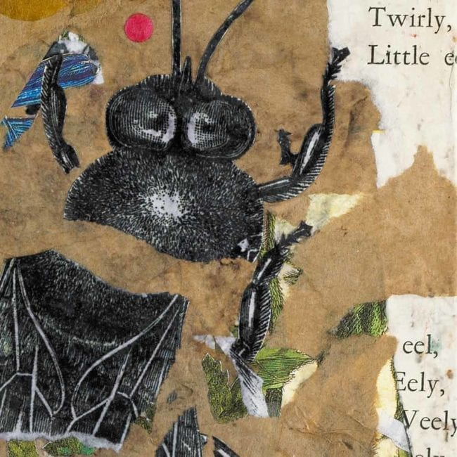 close up of a mixed-media piece with torn brown paper, typography, and a torn black and white illustration of a bee