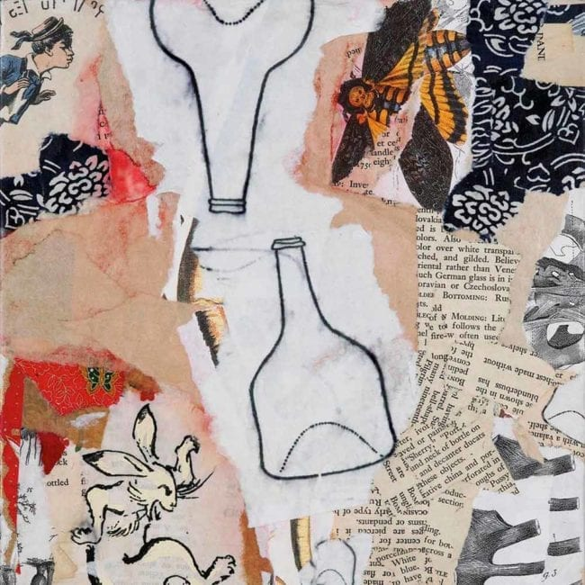 close up of a mixed media called pookah with torn peach and white paper with typography, an image of an illustrated rabbit, two drawn bottles, an image of a moth, and a few scraps of bright red paper