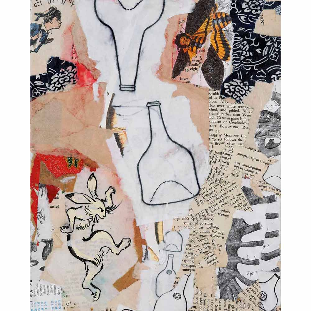 mixed media called pookah with torn peach and white paper with typography, an image of an illustrated rabbit, two drawn bottles, an image of a moth, and a few scraps of bright red paper