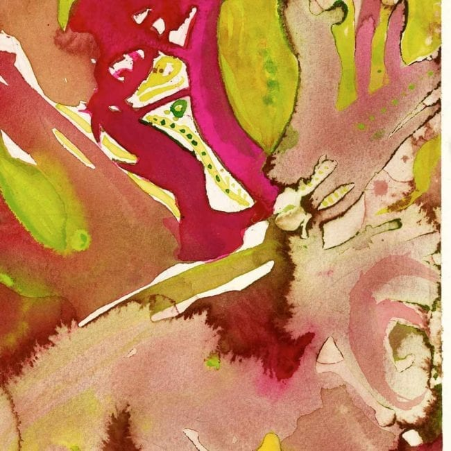 close up of the watercolor painting prometheus with red, green, yellow, and pink abstract organic brushstrokes that resemble leaves and stems