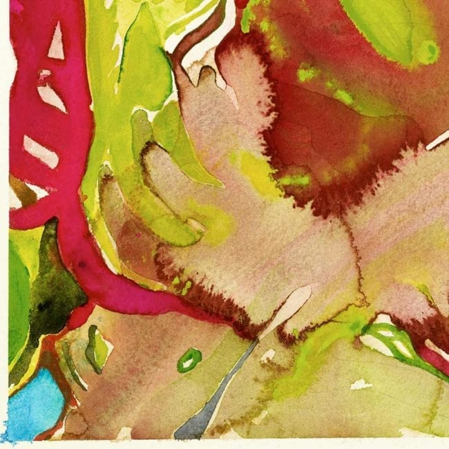close up of the watercolor painting prometheus with red, green, yellow, and pink abstract organic brushstrokes that resemble leaves and stems with a small spot of bright blue