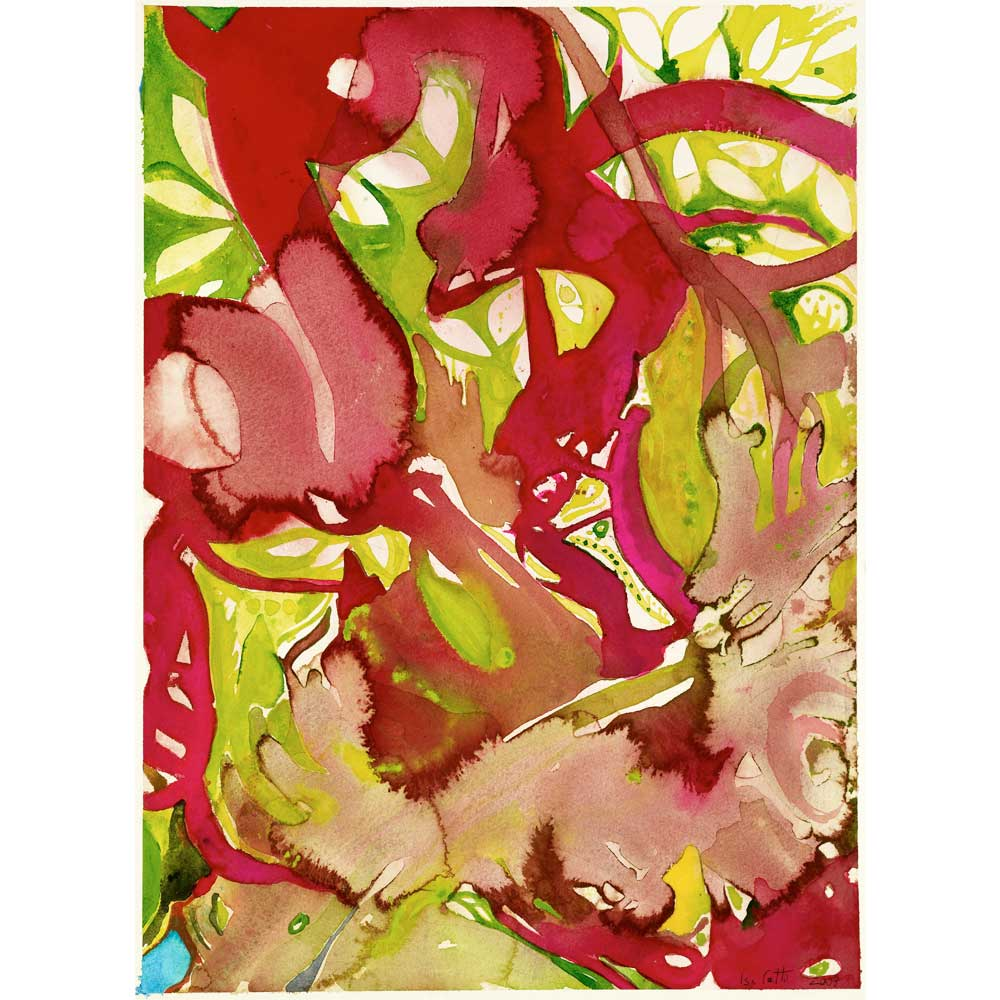 watercolor painting prometheus with red, green, yellow, and pink abstract organic brushstrokes that resemble leaves and stems