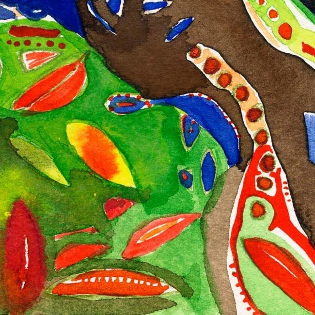 close up of the sanctuary watercolor painting with green, dark blue, brown, and bright red abstract organic shapes