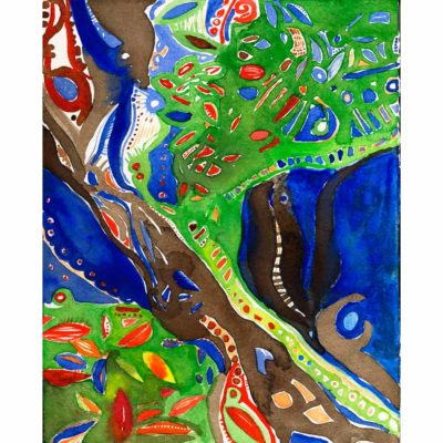 sanctuary watercolor painting with green, dark blue, brown, and bright red abstract organic shapes