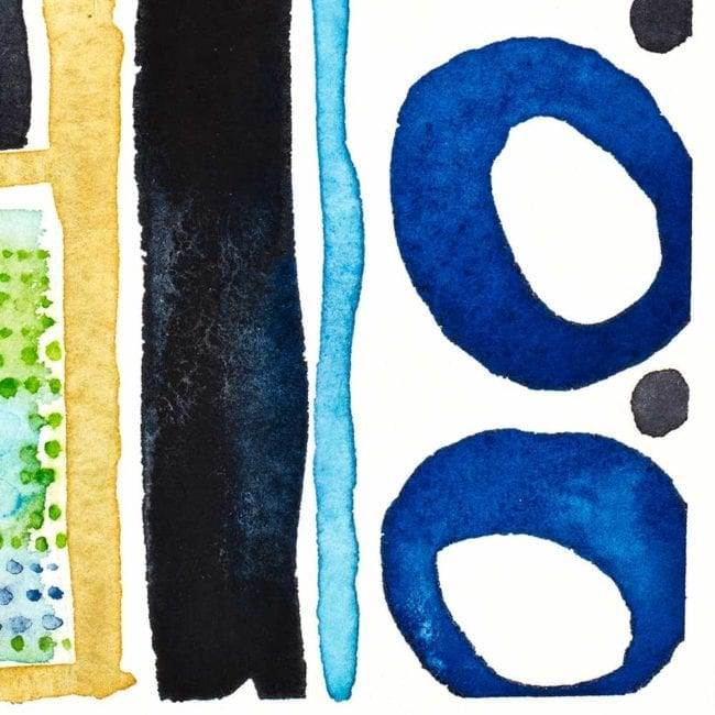 close up of the sequence watercolor painting with two dark blue circles, a light blue vertical line, a blue black vertical line, and the edge of the sand yellow shelf