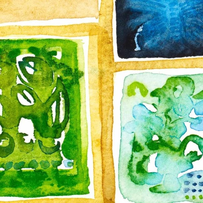 close up of the watercolor painting sequence with a tan yellow shelf containing green and blue organic abstract shapes