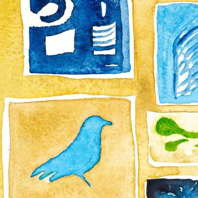 close up of the watercolor painting sequence with a light blue bird in a tan yellow shelf box