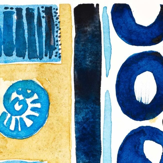close up of the sequence watercolor painting with two dark blue circles, a light blue vertical line, a blue black vertical line, the edge of the sand yellow shelf, and a light blue shell