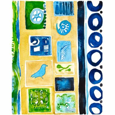 sequence watercolor painting with dark blue circles, a sand yellow background, and light blue and green objects