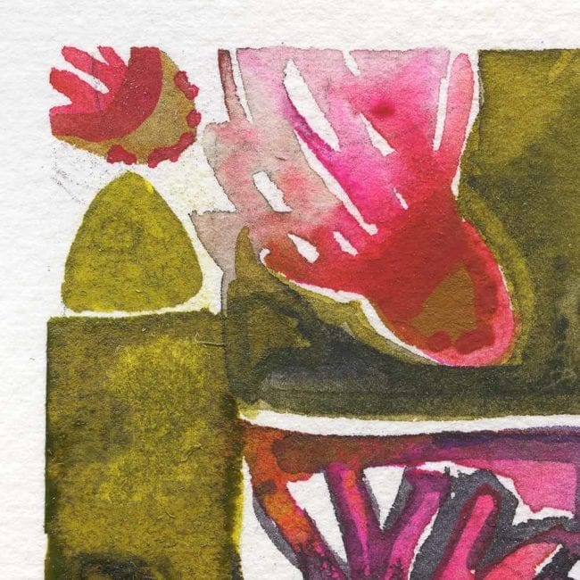 extreme close up of the spring watercolor painting showing a few pink abstract organic flower shapes in green boxes