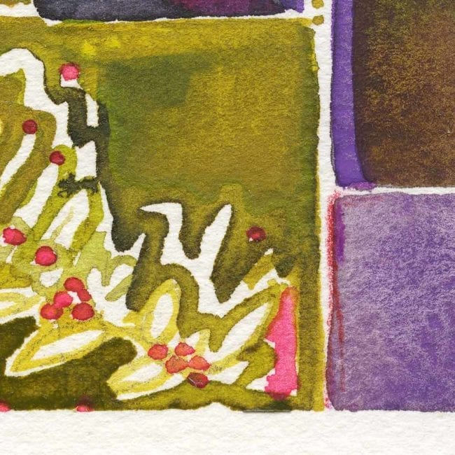 cloe up detail of the garden inspired spring watercolor showing the purple boxes and a green leaf shape with small red dots