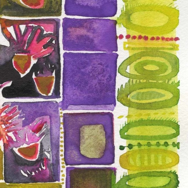 close up detail of the spring garden inspired watercolor painting with green abstract cirlces, purple boxes, and pink, purple, and green floral organic plant shapes all organized in vertical columns
