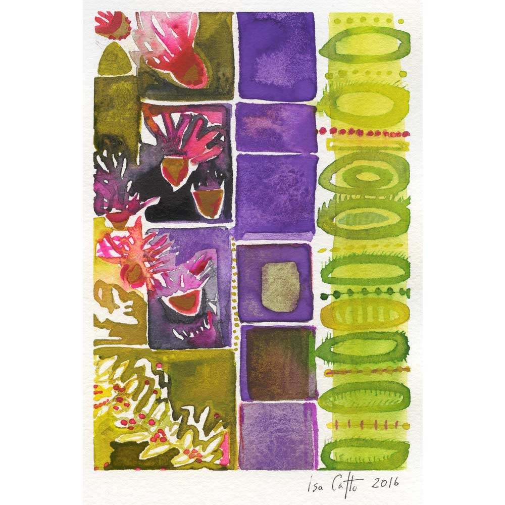 spring garden inspired watercolor painting with green abstract cirlces, purple boxes, and pink, purple, and green floral organic plant shapes all organized in vertical columns