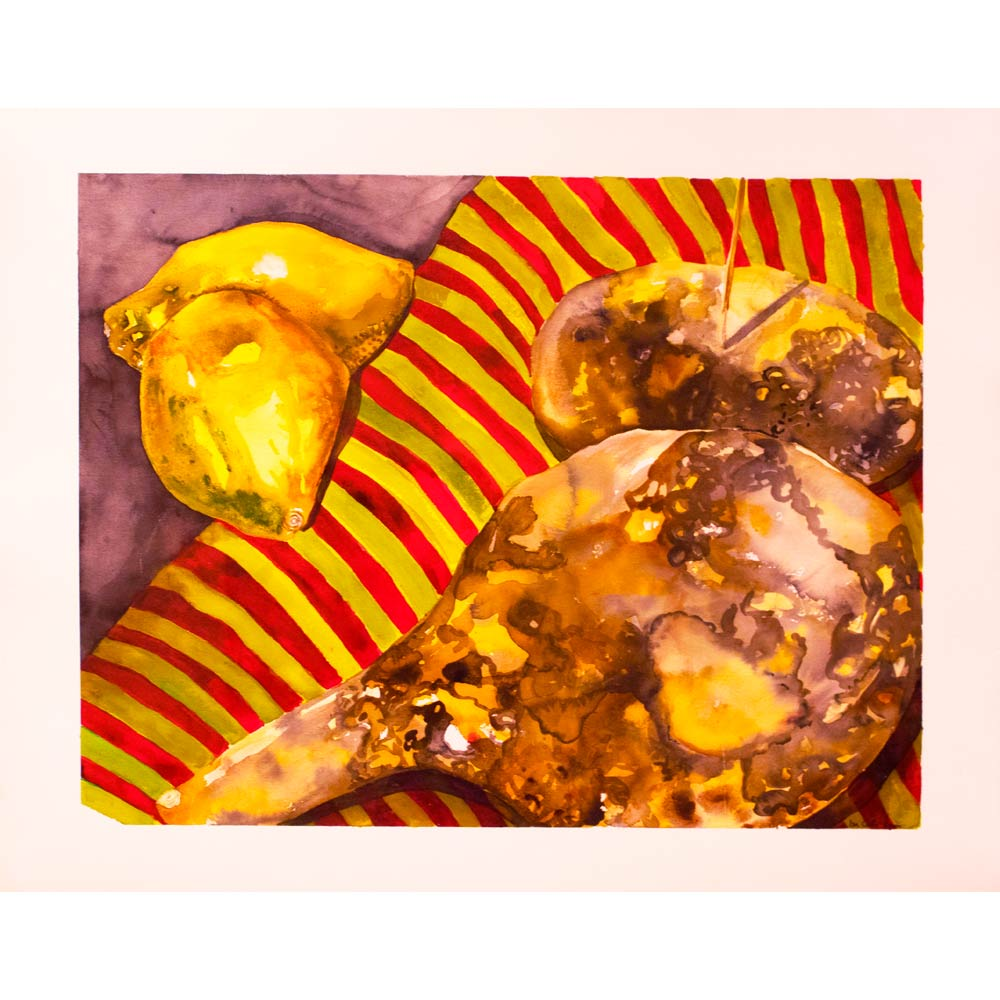 watercolor painting still life of yellow quince fruits and a brown and yellow gourd on a red and yellow striped fabric