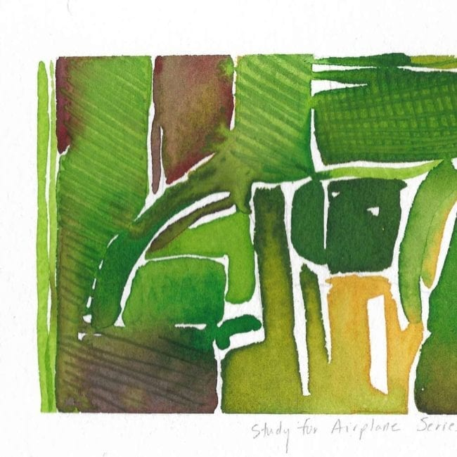 close up of the airplane series watercolor painting of green and yellow agricultural land in organic shapes with the title inscribed under the painting