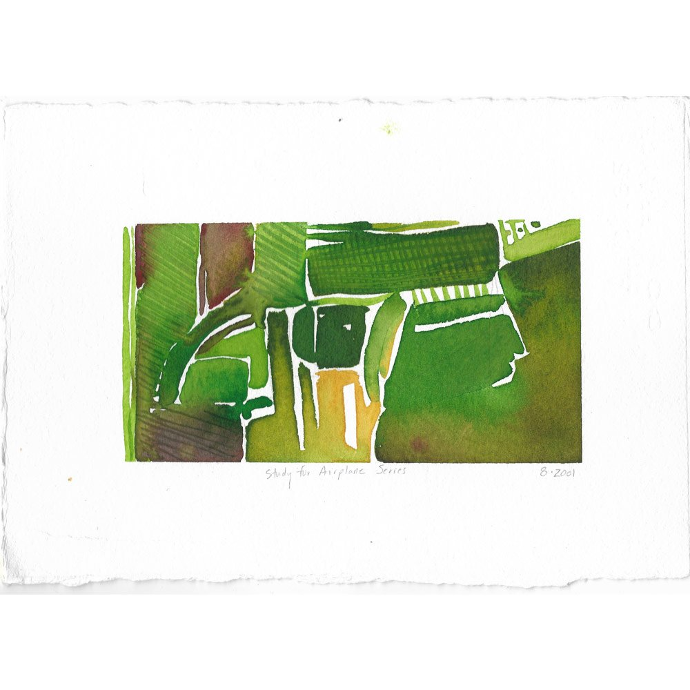 airplane series watercolor painting of green and yellow agricultural land in organic shapes