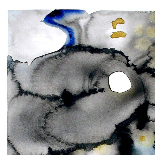 close up of the watercolor painting with abstract round blotches of black, grey, dark blue, and mustard yellow