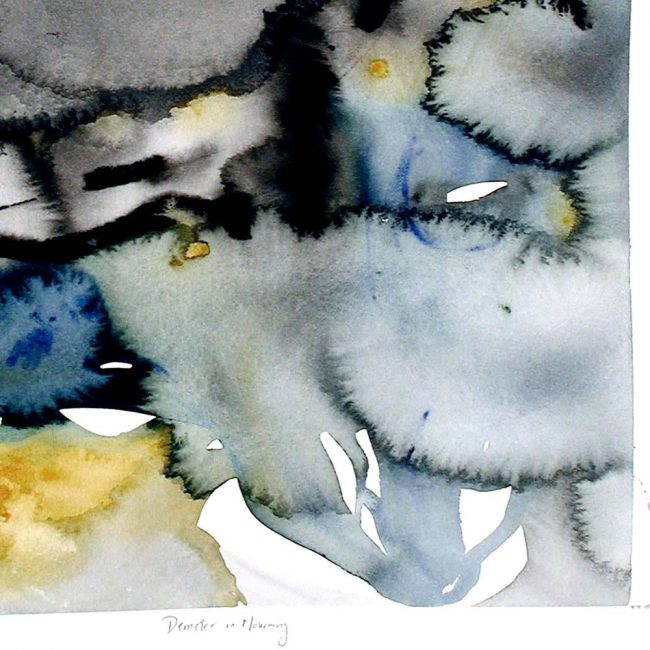 close up of the watercolor painting with abstract round blotches of black, grey, dark blue, and mustard yellow with the title of the piece inscribed underneath