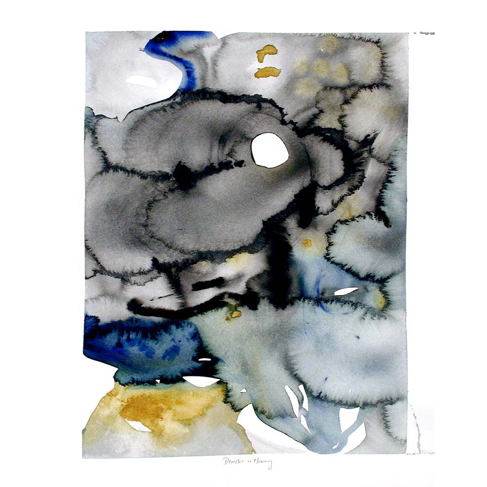 watercolor painting with abstract round blotches of black, grey, dark blue, and mustard yellow with the title of the piece inscribed underneath