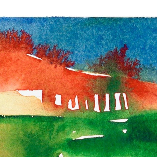 close up of the foothills abstract watercolor landscape painting with green and yellow agricultural shapes and a red horizon bleeding into a deep blue sky