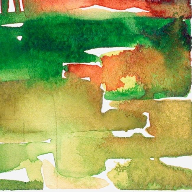 close up of the foothills abstract watercolor landscape painting with green and yellow agricultural shapes and a red horizon