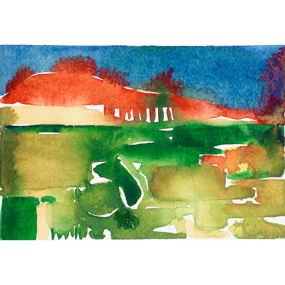 foothills abstract watercolor landscape painting with green and yellow agricultural shapes and a red horizon bleeding into a deep blue sky