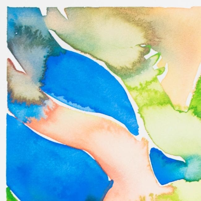 close up detail of the nereid watercolor painting with abstract organic shapes in bright blue, green, muted pink, and purple gray