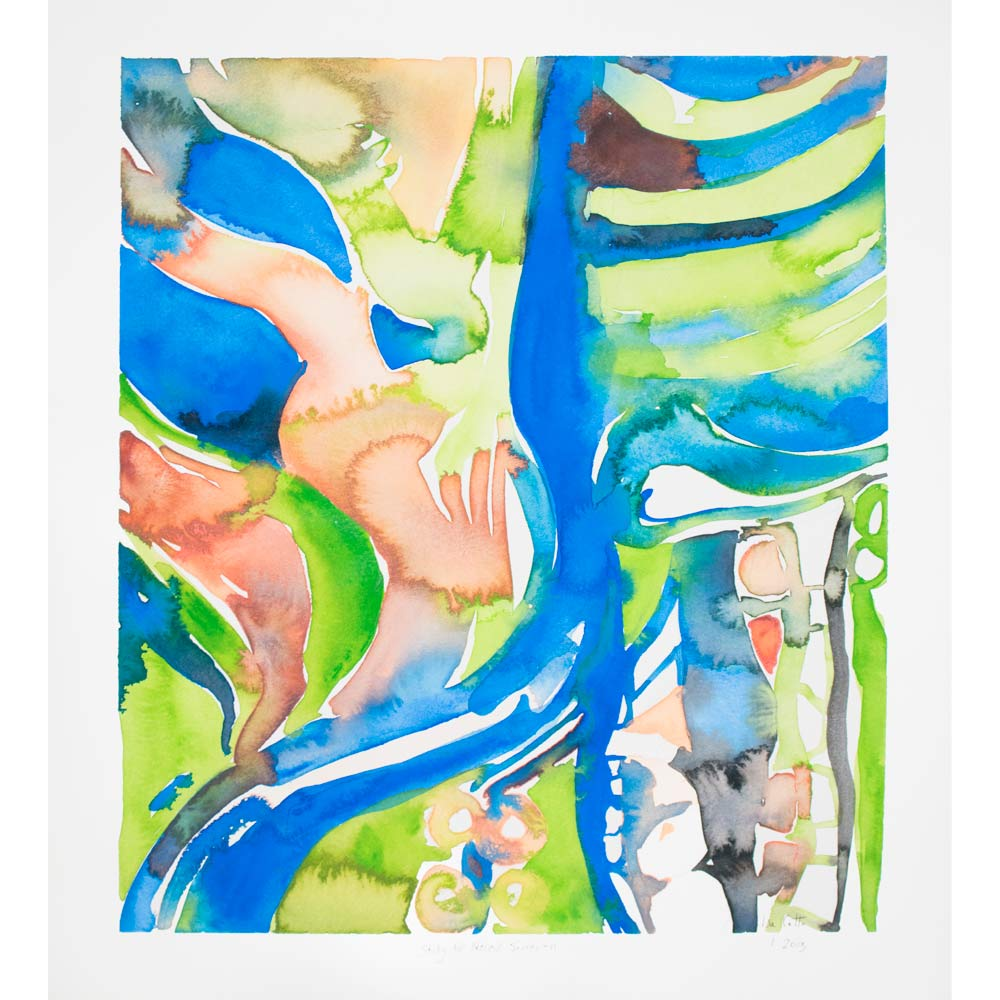 nereid watercolor painting with abstract organic shapes in bright blue, green, muted pink, and purple gray