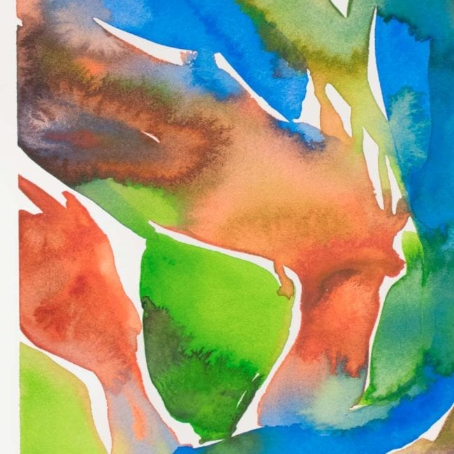 close up of the nereid watercolor with blue, light green, black, orange, and pink organic semi botanical shapes