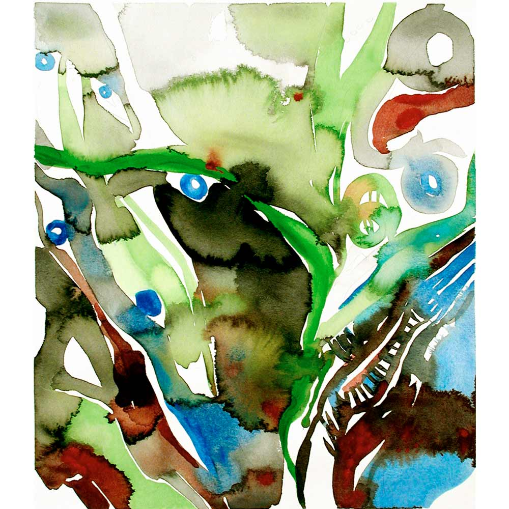 nereid abstract watercolor painting with organic green, black, blue, and dark red semi botanical shapes