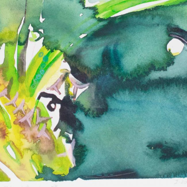 close up of the pluto and persephone abstract watercolor painting with organic teal, green, blue, yellow, and pink semi botanical shapes