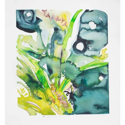 pluto and persephone abstract watercolor painting with organic teal, green, blue, yellow, and pink semi botanical shapes