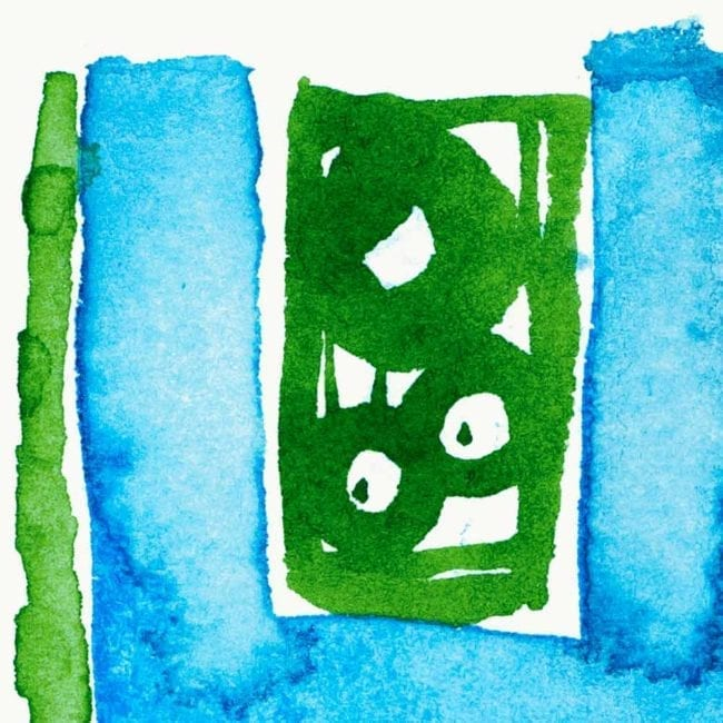 close up of the sequence watercolor painting with green objects like a small bird and leaves in a bright blue shelf like structure