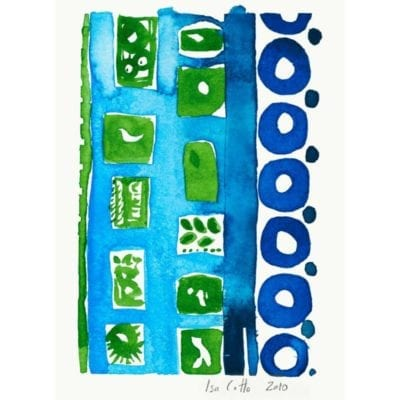 sequence watercolor painting with green objects like a small bird and leaves in a bright blue shelf like structure with deep blue circles to the right in a column