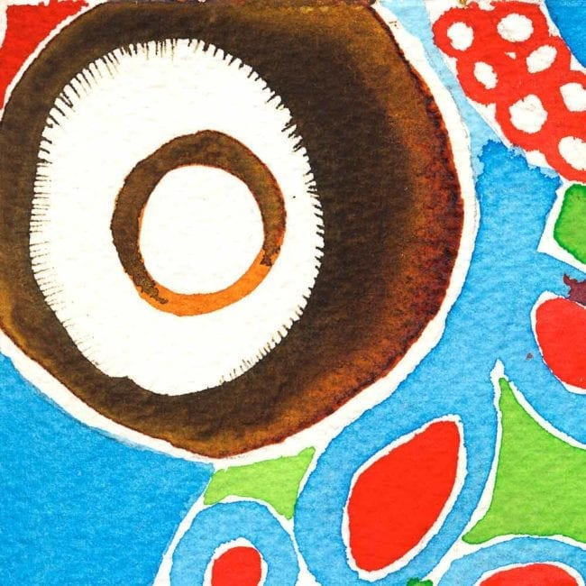close up of the tentacle watercolor painting with the bright blue background, a brown and white circle shape, and one of the crimson red tentacles