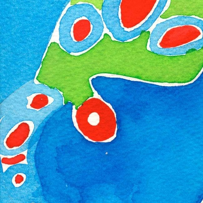 close up of the tentacle watercolor painting with the bright blue background and a bright green and crimson red organic abstract shape