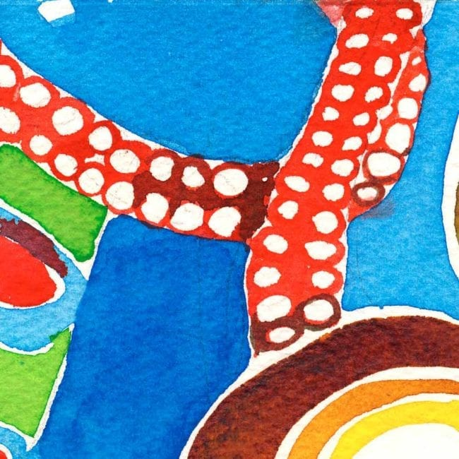 close up of the tentacle watercolor painting with a bright blue background and bright crimson red tentacles