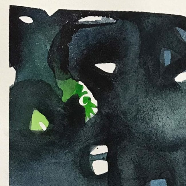 close up of the abstract watercolor painting with black, blue, purple, and green abstract shapes