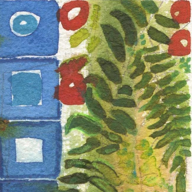 close up of the summer solstice watercolor painting with a column of blue squares and a column of green fern like leaves
