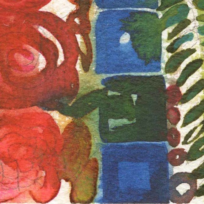 close up of the summer solstice watercolor painting with a column of red pink roses, a column of blue squares, and a column of green fern like leaves