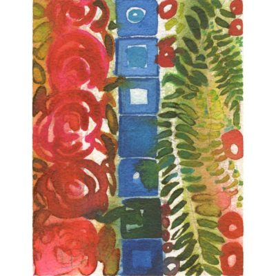 summer solstice watercolor painting with a column of red pink roses, a column of blue squares, and a column of green fern like leaves