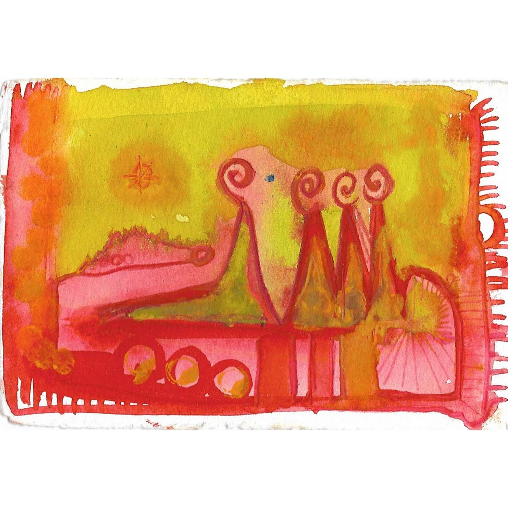 sunset abstract watercolor painting with red and pink abstract landscape shapes and a mustard yellow sky