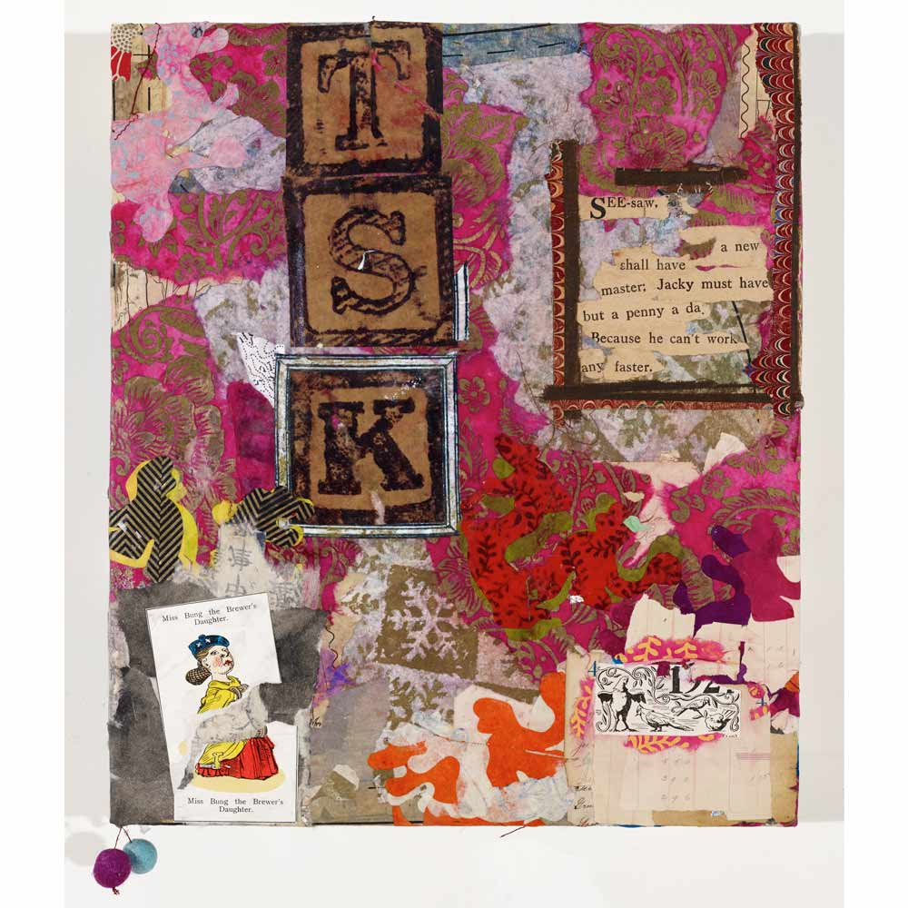 mixed media collage panel with torn pink and white patterned paper in the background and the letters T, S, and K spelled out on children's blocks