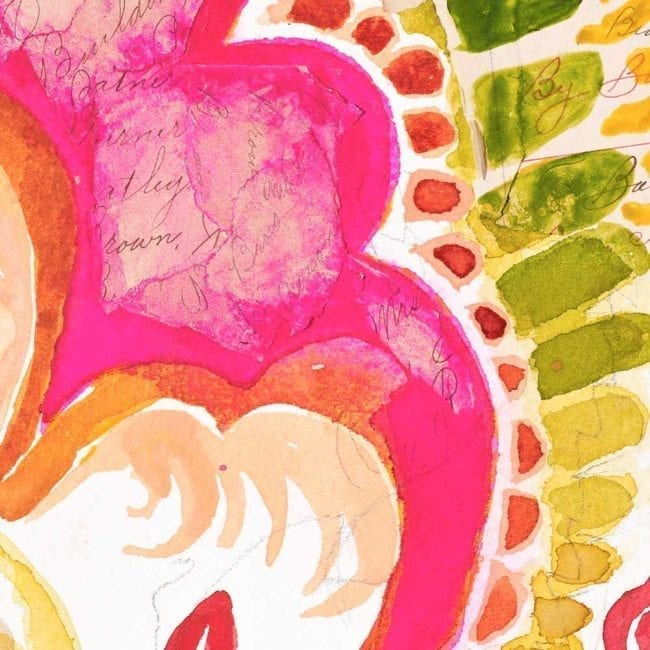 close up of the tangibles watercolor painting in bright pink, orange, warm yellow, crimson red, and warm green in floral organic paisley patterns inspired by watercolor with handwriting on torn paper hidden throughout