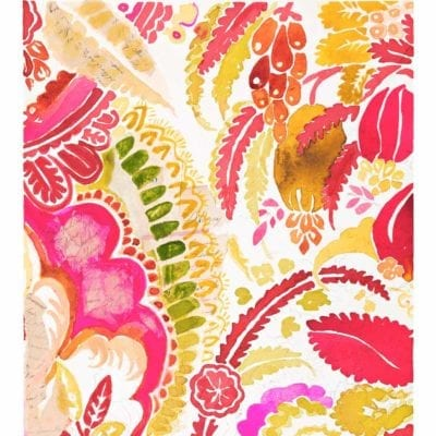 tangibles watercolor painting in bright pink, orange, warm yellow, crimson red, and warm green in floral organic paisley patterns inspired by watercolor with handwriting on torn paper hidden throughout