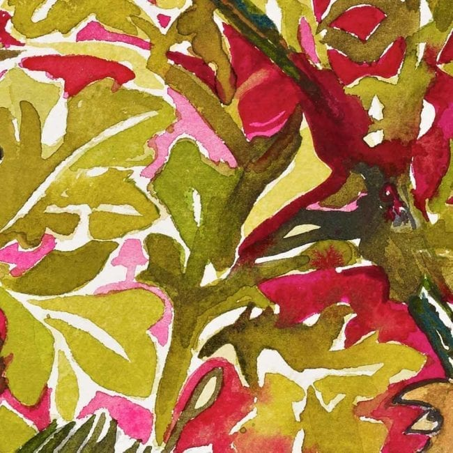 close up of the watercolor painting showing the golden green and crimson red floral wallpaper inspired background