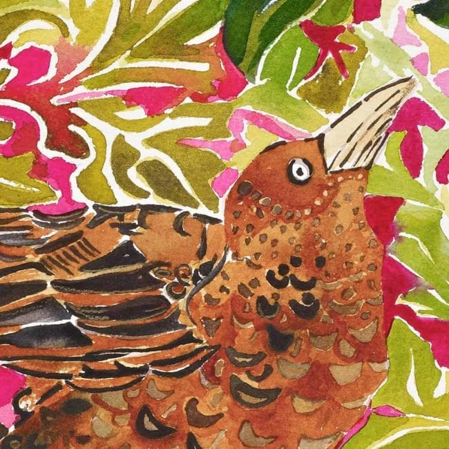close up of the watercolor painting showing the head of a brown bird as well as the golden green and crimson red floral wallpaper inspired background