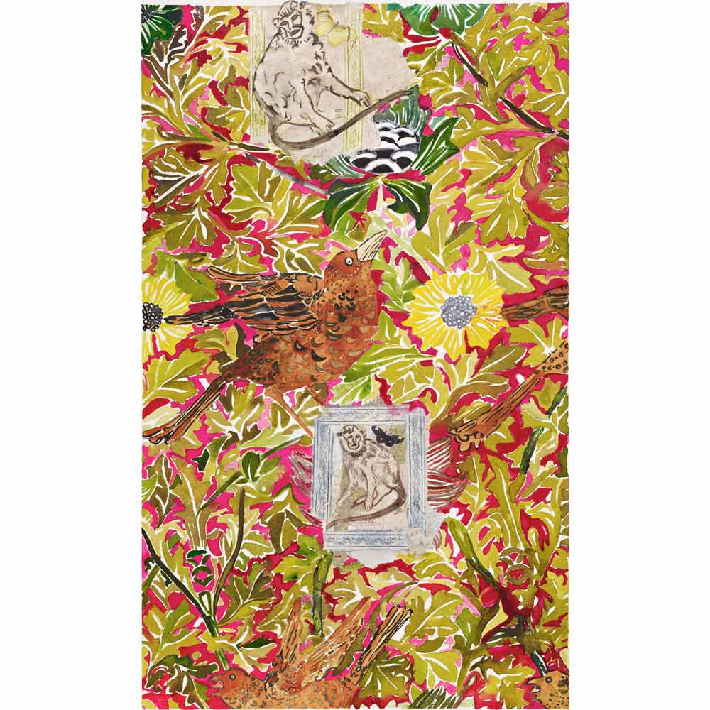 monkey king watercolor painting with golden green and crimson red wallpaper inspired floral patterns in the background as well as two simple line paintings of monkeys in frames and several brown birds