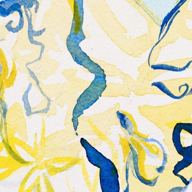 close up of the watercolor painting with a yellow and blue complex abstract background with organic shapes